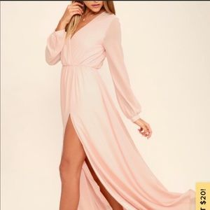 Lulu's Wondrous Water Lilies Blush Maxi Dress